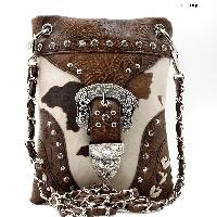 BKLE-76-COW-BROWN - WHOLESALE RHINESTONE CRYSTAL CELLPHONE CASES/POUCHES