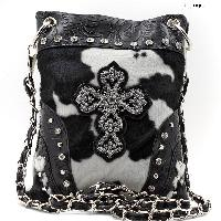 CROSS-76-COW-BLK-WT - WHOLESALE RHINESTONE CRYSTAL CELLPHONE CASES/POUCHES
