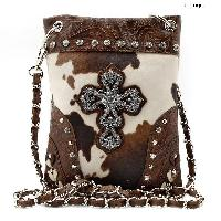 CROSS-76-COW-BROWN - WHOLESALE RHINESTONE CRYSTAL CELLPHONE CASES/POUCHES