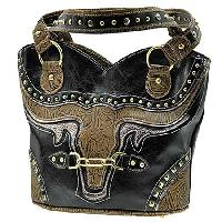 BUL--382-BLACK - WHOLESALE WESTERN RHINESTONE HANDBAGS