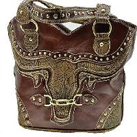 BUL--382-BROWN - WHOLESALE WESTERN RHINESTONE HANDBAGS