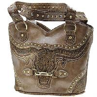BUL--382-TAN - WHOLESALE WESTERN RHINESTONE HANDBAGS
