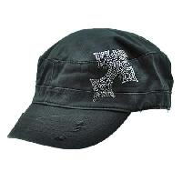 CAD/CR3-BLACK - WHOLESALE  RHINESTONE CADET  CROSS CAPS/HATS