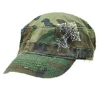 CAD/CR3-CAMO - WHOLESALE  RHINESTONE CADET  CROSS CAPS/HATS