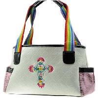 CRA-921-WHITE - WHOLESALE CRYSTAL STUDDED HANDBAGS