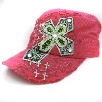 CAD-NEW-042-PINK - WHOLESALE RHINESTONE CROSS CADET STYLE CAPS