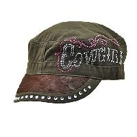 HDCD-COWGIRL-BROWN - WHOLESALE RHINESTONE HAIR ON HIDE CAPS