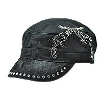 HDCD-DBGUNS-BK/BK - WHOLESALE RHINESTONE HAIR ON HIDE CAPS