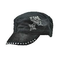 HDCD-CR33-BK/BK - WHOLESALE RHINESTONE HAIR ON HIDE CAPS