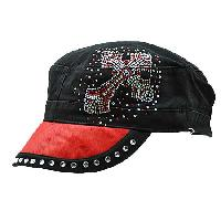 HDCD-55-RED - WHOLESALE RHINESTONE HAIR ON HIDE CAPS