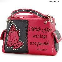 HP-893-PINK - WHOLESALE WESTERN BIBLE VERSE PURSES