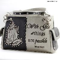 HP-893-PEWTER - WHOLESALE WESTERN BIBLE VERSE PURSES