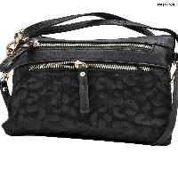 LU-005-BLACK - WHOLESALE WRISTLET/CLUTCH/CROSS BODY HIPSTER PURSE