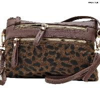 LU-005-BROWN - WHOLESALE WRISTLET/CLUTCH/CROSS BODY HIPSTER PURSE