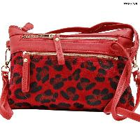 LU-005-RED - WHOLESALE WRISTLET/CLUTCH/CROSS BODY HIPSTER PURSE