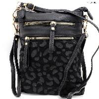 LU-006-BLACK - WHOLESALE WRISTLET/CLUTCH/CROSS BODY HIPSTER PURSE