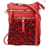 LU-006-RED - WHOLESALE WRISTLET/CLUTCH/CROSS BODY HIPSTER PURSE