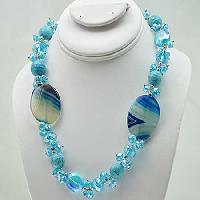 NKL-10-TURQ - WHOLESALE GENUINE CRYSTAL AND GLASS NECKLACE