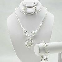 NKL-16-CLEAR (SET OF 3) - WHOLESALE GENUINE CRYSTAL AND GLASS NECKLACE SET