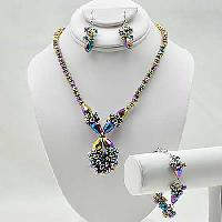 NKL-16-LAVA (SET OF 3) - WHOLESALE GENUINE CRYSTAL AND GLASS NECKLACE SET