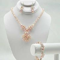 NKL-16-PINK (SET OF 3) - WHOLESALE GENUINE CRYSTAL AND GLASS NECKLACE SET