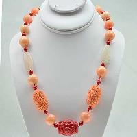 NKL-22-CORAL - WHOLESALE GENUINE CRYSTAL AND GLASS NECKLACE
