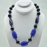 NKL-22-NAVY - WHOLESALE GENUINE CRYSTAL AND GLASS NECKLACE