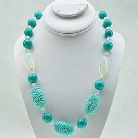 NKL-22-TURQ - WHOLESALE GENUINE CRYSTAL AND GLASS NECKLACE