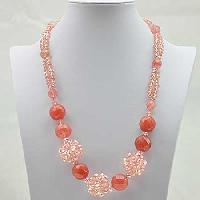 NKL-6-CORAL - WHOLESALE GENUINE CRYSTAL AND GLASS NECKLACE