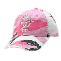 RSCR3-CAMO-PINK - WHOLESALE RHINESTONE CROSS CAP/BASEBALL CAPS