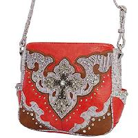 SKP--345-TANGERINE -  WESTERN CROSS HANDBAGS