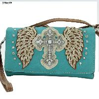 Cross Hipster Wallets - Rhinestone Studded Cross Body Style Cross Design Hipster Wallet Sling Bag